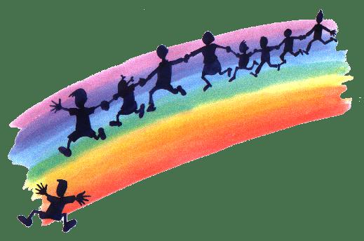 arc-en-ciel avec enfants sur fond transparent